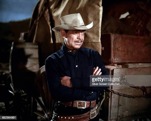 American actor Clark Gable as Colonel Ben Allison in the western 'The Tall Men', directed by Raoul Walsh, 1955.
