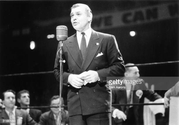 American actor Clark Gable speaking in support of Republican candidate Dwight David Eisenhower at an election rally in Madison Square Garden New York