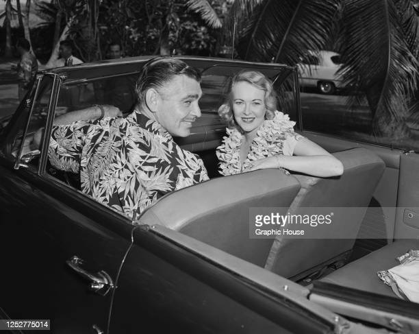 American actor Clark Gable with his wife, actress Sylvia Ashley during their honeymoon in Hawaii, 1950.