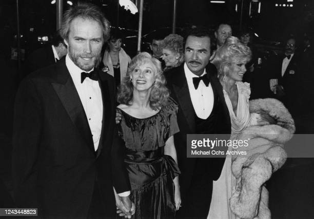 American actor Clint Eastwood American actress Sondra Locke American actor Burt Reynolds and American actress Loni Anderson attend the premiere of...