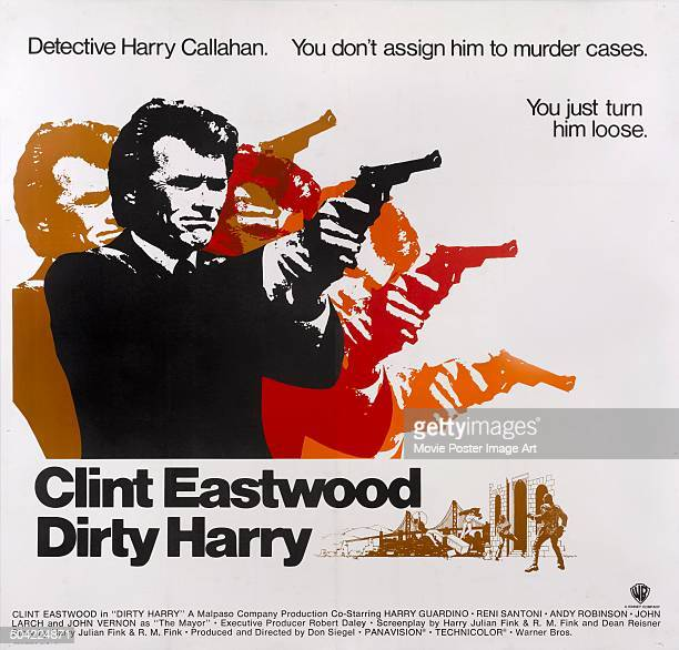American actor Clint Eastwood as 'Dirty' Harry Callaghan on a poster for the movie 'Dirty Harry' 1971