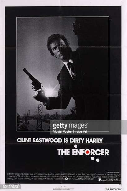 American actor Clint Eastwood as 'Dirty' Harry Callaghan on a poster for the movie 'The Enforcer' 1976