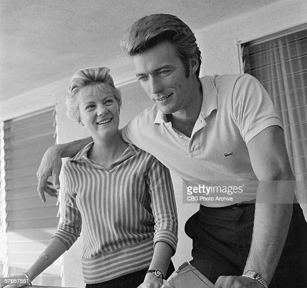 American actor Clint Eastwood at home with his wife, Maggie Johnson, October 1, 1959.