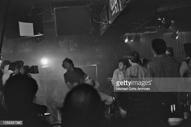 American actor Clint Eastwood in a fight scene at the Palomino Club in North Hollywood California during the filming of 'Any Which Way You Can' 16th...