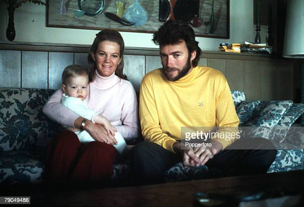1969 American actor Clint Eastwood is pictured with his wife Maggie and baby son Kyle