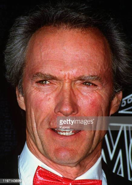 American actor Clint Eastwood wearing a red bow tie circa 1993