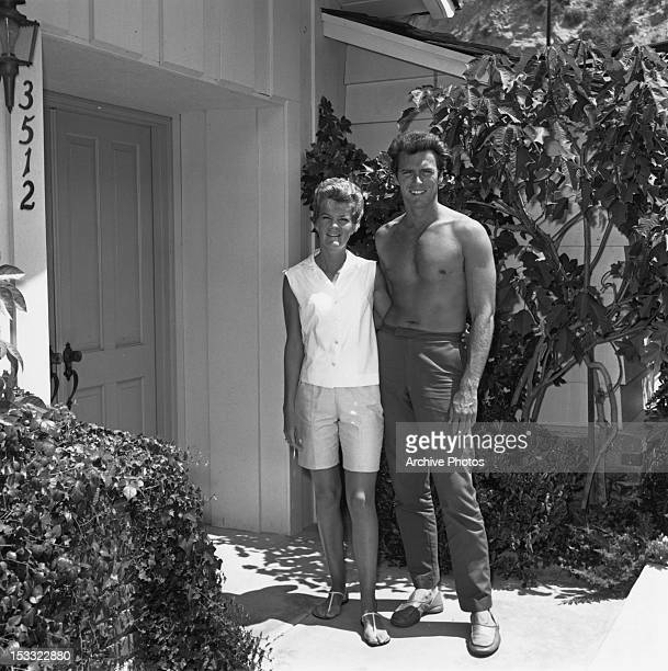 American actor Clint Eastwood with his first wife Maggie Johnson at their home in the Hollywood Hills, Los Angeles, California, circa 1960.