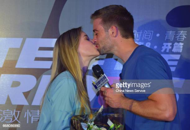 American actor Cody Walker and his wife Felicia Knox attend a signing session at a cinema on April 11 2017 in Hangzhou Zhejiang Province of China