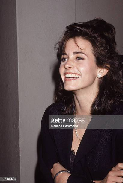 American actor Courteney Cox laughs as she attends an opening of the American Ballet Theatre March 1 1988