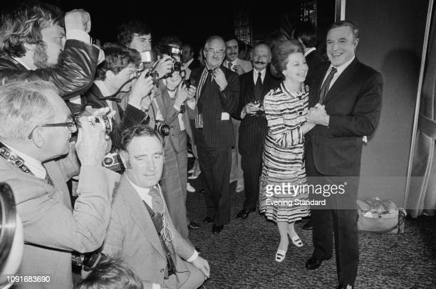 American actor dancer performer and choreographer Gene Kelly with the press and paparazzi UK 27th May 1980