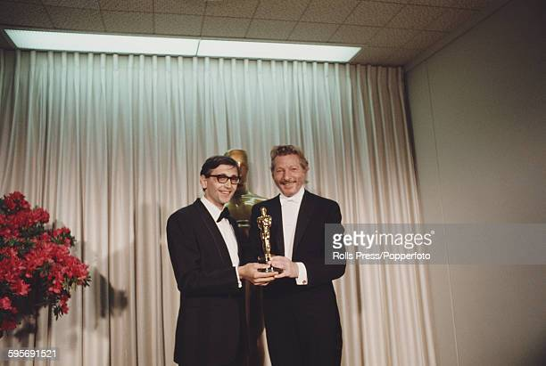 American actor Danny Kaye pictured right standing with Czech film director Jiri Menzel at the 40th Academy Awards at the Santa Monica Civic...