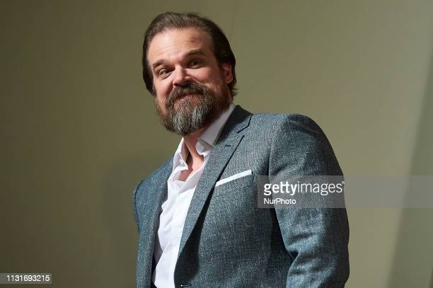 American actor David Harbour attends the presentation of film 'Hellboy' at URSO Hotel in Madrid, Spain. March 20, 2019.