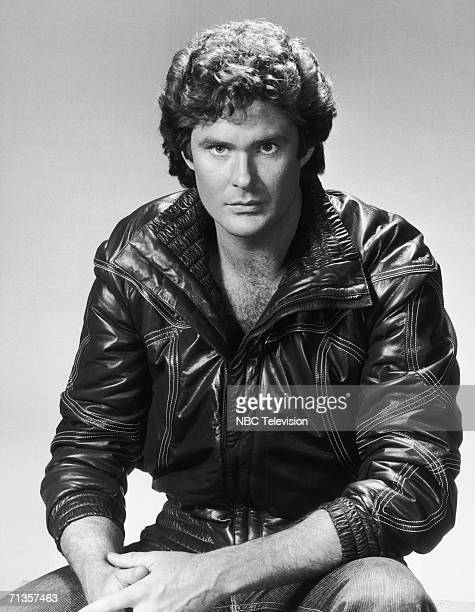 American actor David Hasselhoff wearing a leather jacket as Michael Knight in the NBC television series 'Knight Rider' 1982