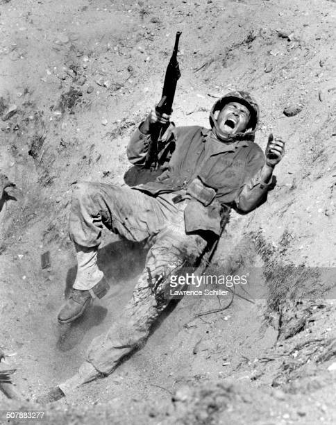 American actor David Janssen in a scene from the film 'Hell to Eternity' 1960