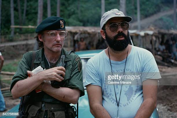 American actor Dennis Hopper with director Francis Ford Coppola on the set of the his movie Apocalypse Now based on Joseph Conrad's novel Heart of...