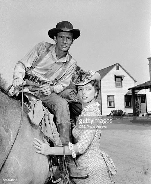 American actor Dennis Weaver and American actress Amanda Blake in the episode titled 'Hot Spell' of the TV western 'Gunsmoke' June 28 1955 Weaver...
