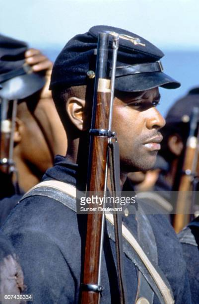 American actor Denzel Washington on the set of Glory based on the book by Lincoln Kirstein and directed by Edward Zwick