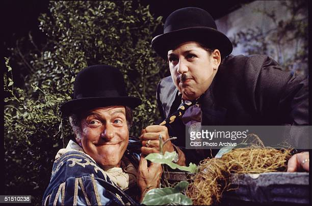 American actor Dick van Dyke and American pop singer Mama Cass Elliot perform as Stan Laurel and Oliver Hardy during Elliot's television variety...