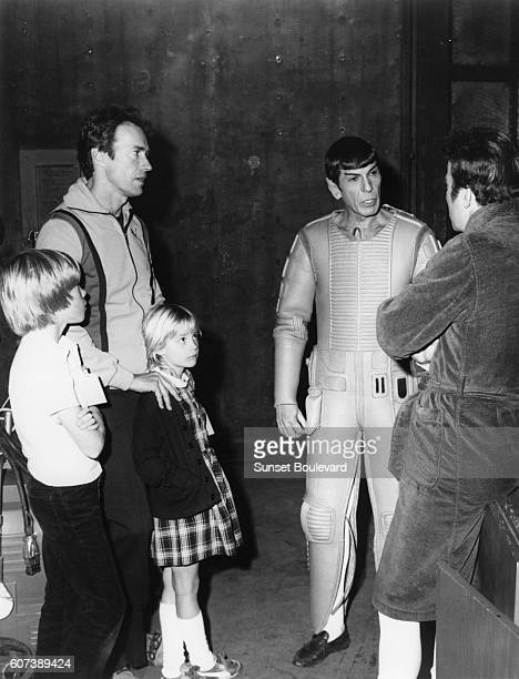 American actor, director and producer Clint Eastwood with children Kyle and Alison , and actor and director Leonard Nimoy.