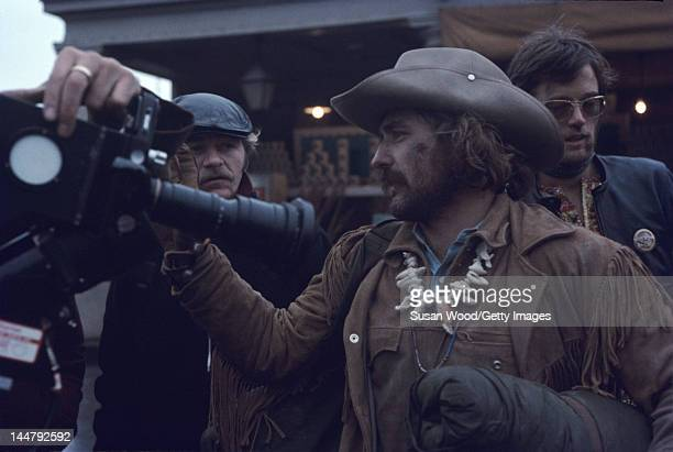 American actor director Dennis Hopper and actor Peter Fonda during the filming of Hopper's directorial debut 'Easy Rider' New Orleans Louisiana 1968