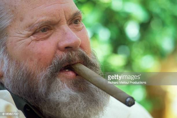 American actor director screenwriter and producer Orson Welles is in Cannes for the 1983 Cannes Film Festival