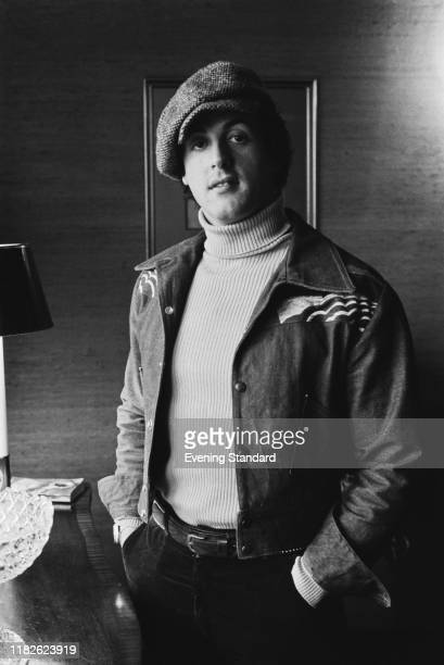 American actor director screenwriter and producer Sylvester Stallone wearing baker boy hat UK 4th February 1977