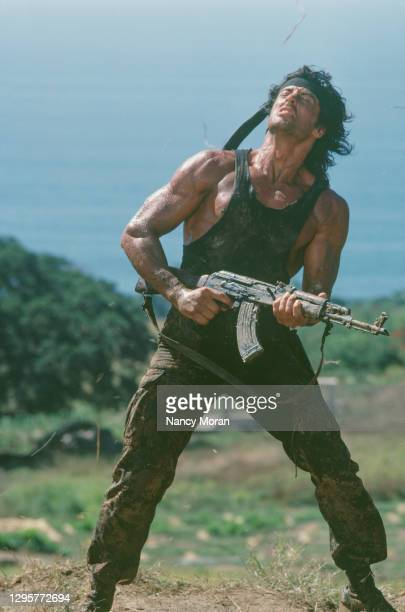 American actor, director, screenwriter and producer Sylvester Stallone on the set of Rambo: First Blood Part II, directed by Greek director George P....