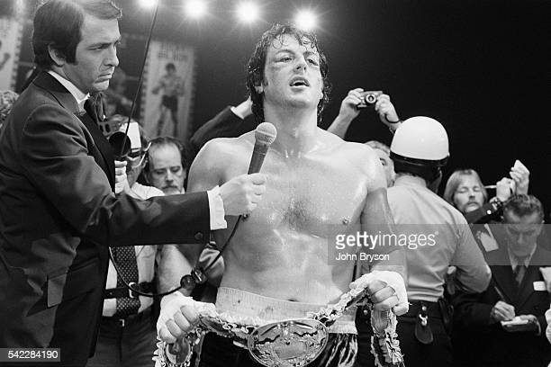 American actor director screenwriter and producer Sylvester Stallone on the set of his movie Rocky II