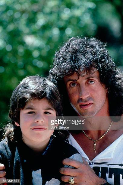 American actor director screenwriter and producer Sylvester Stallone and his son Sage Moonblood at their home in Malibu