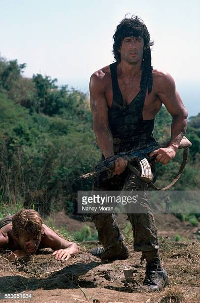 American actor director screenwriter and producer Sylvester Stallone on the set of Rambo First Blood Part II directed by Greek director George P...