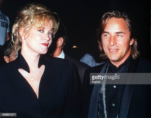 American actor Don Johnson with his wife, actress Melanie Griffith, circa 1990.