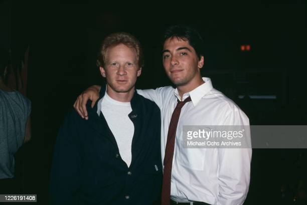 American actor Don Most with American actor Scott Baio, who stands with his arm around Most's shoulder, June 1986. The two starred in American sitcom...