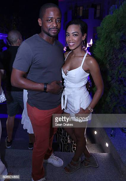 American actor Dule Hill poses with Jazmyn Simon during the Estate 101 AllInclusive Carnival Fete as part of Trinidad and Tobago Carnival on February...