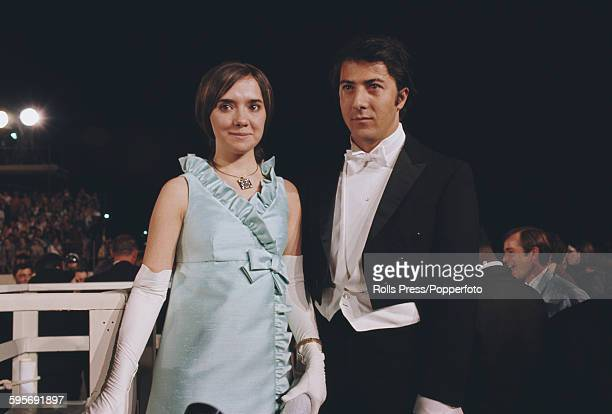 American actor Dustin Hoffman and Ellen McCarthy pictured attending the 40th Academy Awards together at the Santa Monica Civic Auditorium in...