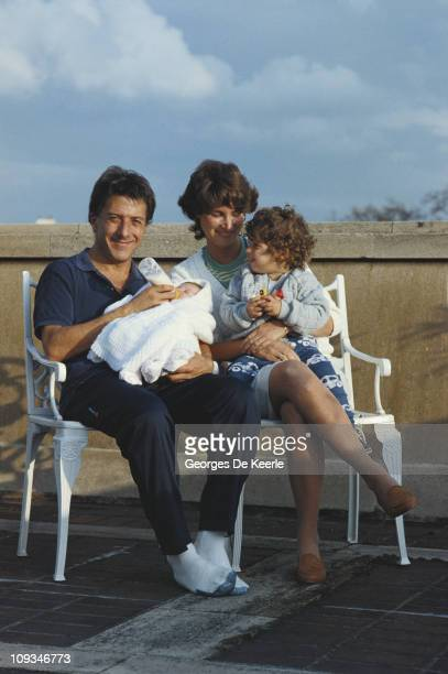 American actor Dustin Hoffman with his wife Lisa and two of their children, circa 1983.
