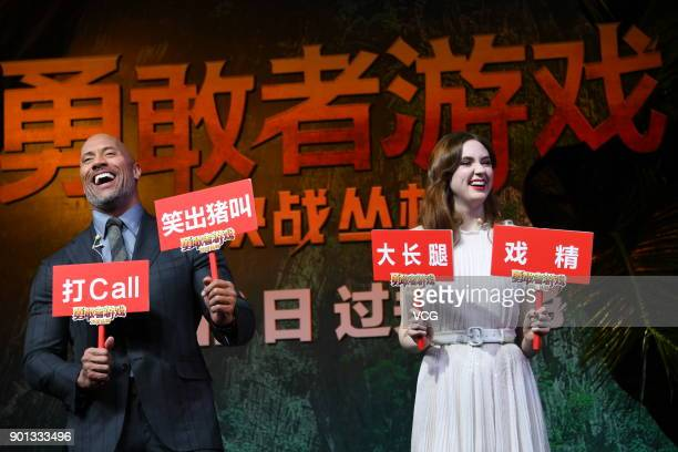 American actor Dwayne Johnson and Scottish actress Karen Gillan attend the press conference and premiere of film 'Jumanji Welcome to the Jungle' on...