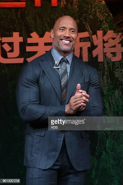 American actor Dwayne Johnson attends the press conference and premiere of film 'Jumanji Welcome to the Jungle' on January 4 2018 in Beijing China