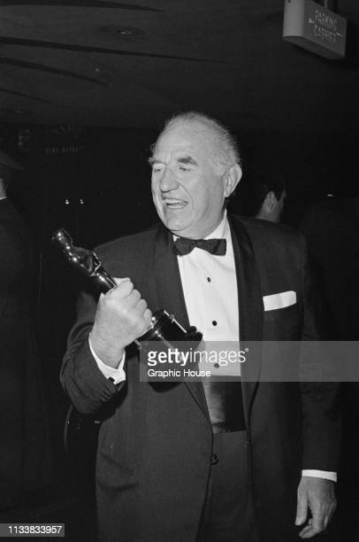 American actor Ed Begley holding his Academy Award for Best Supporting Actor at the 35th Academy Awards ceremony held at Santa Monica Civic...