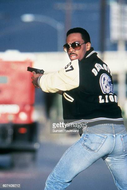 American actor Eddie Murphy on the set of Beverly Hills Cop II directed by Tony Scott