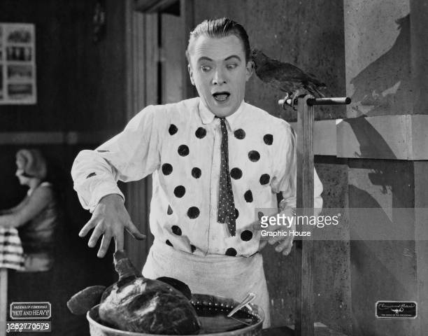 American actor Eddie Nelson is bitten simultaneously by a turtle and a bird whilst cooking, in a scene from the Mermaid Comedies comedy short 'Hot...