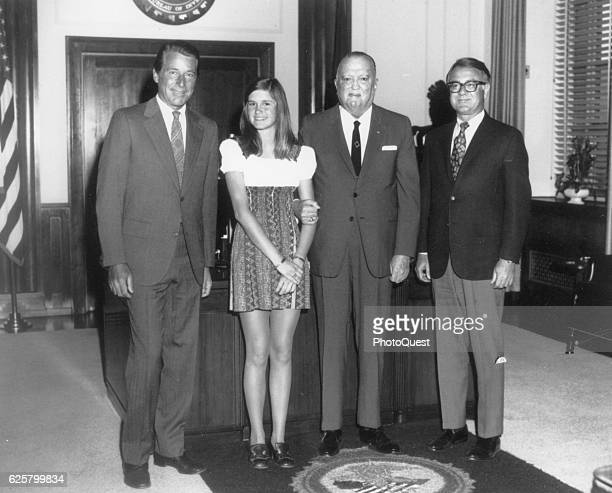 American actor Efrem Zimbalist Jr and his daughter Stephanie Zimbalist pose with FBI Director J Edgar Hoover and an unidentified man during a visit...