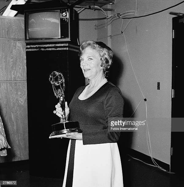 American actor Ellen Corby who played Esther 'Grandma' Walton' on 'The Waltons' holds her Emmy Award for Outstanding Performance by an Actress in a...