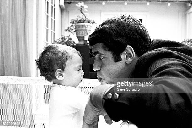 American actor Elliott Gould plays with his son Jason in their home Beverly Hills California 1967