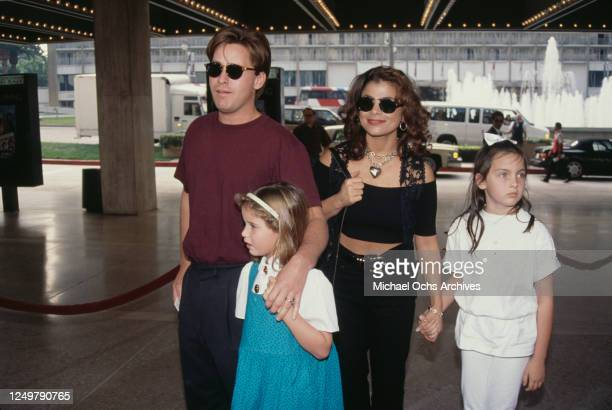 American actor Emilio Estevez with his daughter Paloma Estevez, his wife American singer and dancer Paula Abdul, and niece Cassandra Sheen at the...