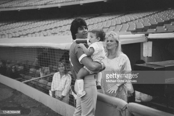 American actor Erik Estrada with his wife Peggy Rowe and their son Anthony Estrada at the Hollywood All-Star Baseball Game at the Dodger Stadium in...