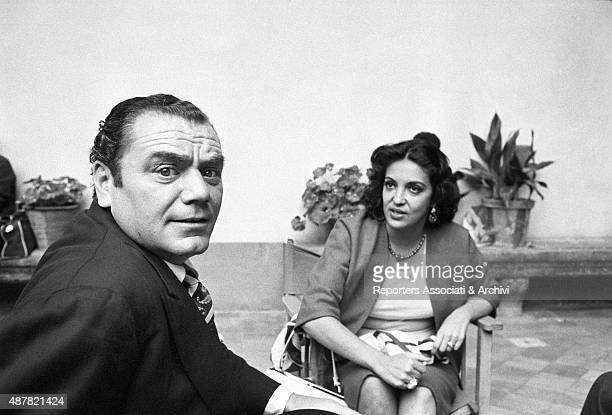 American actor Ernest Borgnine and Greekborn Italian actress Yvonne Sanson having a break on the set of the film The King of Poggioreale 1961