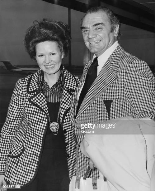 American actor Ernest Borgnine arrives in London with his wife Tova on their extended honeymoon 29th January 1973 He married Tova Traesnaes a...