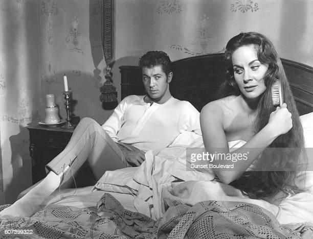 American actor Farley Granger and Italian actress Alida Valli on the set of Senso written and directed by Luchino Visconti