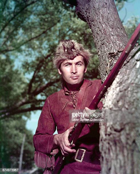 American actor Fess Parker as reallife frontiersman Davy Crockett in the film 'Davy Crockett King of the Wild Frontier' 1955