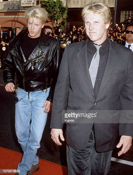 American actor Gary Busey and his son American actor musician and film producer Jake Busey attend the 'Batman Returns' Hollywood Premiere at the...